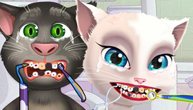 gratuit : Talking Tom et Angela chez le dentiste