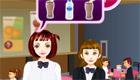 cuisine : Une fille serveuse à la cafétéria