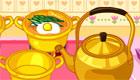 cuisine : Une fille cuisine de la soupe