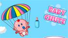Un bébé fille en parachute