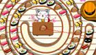 Un chat cuisine des sushis