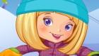 Jeu de fille en snowboard
