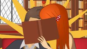Jeu de bisous à la bibliothèque
