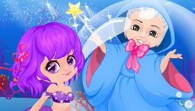 Bébé sirène et sa marraine la fée